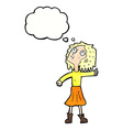 cartoon woman looking up to the sky with thought vector image