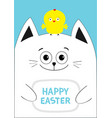 cat holding happy easter text chicken bird on the vector image vector image