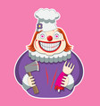 clown character in chef s hat holds an axe vector image vector image