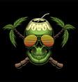 coconut skull retro vector image vector image