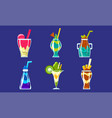 collection smoothies sweet layered fresh vector image vector image