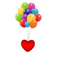 Color Glossy Balloons with Heart Background vector image