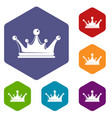 crown icons hexahedron vector image vector image
