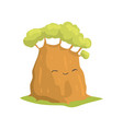 cute green tree with smiling face expression vector image vector image