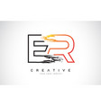 er creative modern logo design with orange and vector image vector image