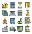 expense report icons set line color vector image vector image