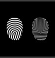fingerprint icon set white color flat style vector image