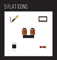 flat icon technology set of receiver coil copper vector image vector image