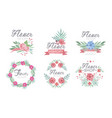 flower shop logo templates set florist boutique vector image vector image
