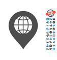 globe marker icon with free bonus vector image vector image
