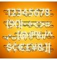 glowing neon honey yellow numbers vector image vector image