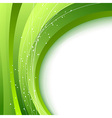 Green waves - abstract fresh spring background vector image