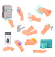 hand washing and care set icons vector image