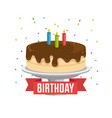 happy birthday card with sweet cake and ribbon vector image vector image