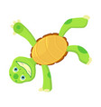 happy young cartoon turtle stands on hand fanny vector image vector image