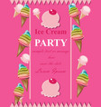 ice cream pink party invitation card vector image vector image