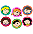 Kids face collection vector image vector image