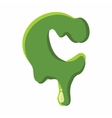 Letter C made of green slime vector image vector image