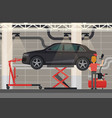 mechanic near car on lifting platform vector image vector image