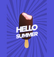 modern poster template with bitten ice cream on vector image vector image