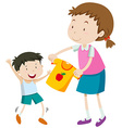 Mom helping little boy getting dress vector image vector image