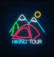 neon hiking tour sign with tent bonfire vector image