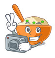 photographer mashed potato in shape mascot vector image vector image