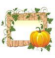 Pumpkin on the wooden background vector image vector image