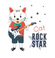 rock star cat with guitar vector image vector image
