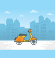 scooter motorcycle on city background vector image