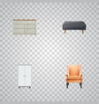 set of decoration realistic symbols with chair vector image vector image