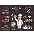 set steak and grill restaurant logo label design vector image