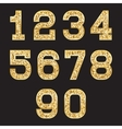 set stylized gold texture numbers with metallic vector image
