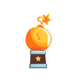 shiny trophy in form of round bomb with burning vector image vector image