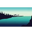 Silhouette od hills in river vector image vector image