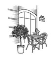 street cafe with table and plant hand drawn in vector image