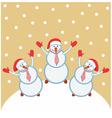 Three funny snowmen happy vector image vector image