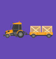 tractor carrying boxes vector image vector image