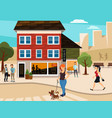 urban with walking people vector image