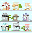 various store front building background design set vector image