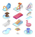 water park kid entertainment isometric icon set vector image