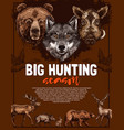wild animal and bird poster of open hunting season vector image vector image