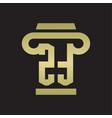 zt logo monogram with pillar style design vector image vector image