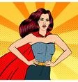 Super Woman Female Hero Superhero Girl Pop Art vector image