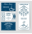 Fishing personal style cards set vector image