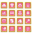 newborn icons pink vector image