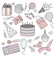 a set of color elements for a birthday vector image