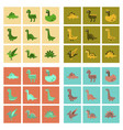 assembly flat icons cartoon dinosaur vector image