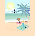 beagle dog wear swim ring on beach prepare to vector image vector image
