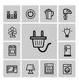 black home appliances icon set vector image vector image